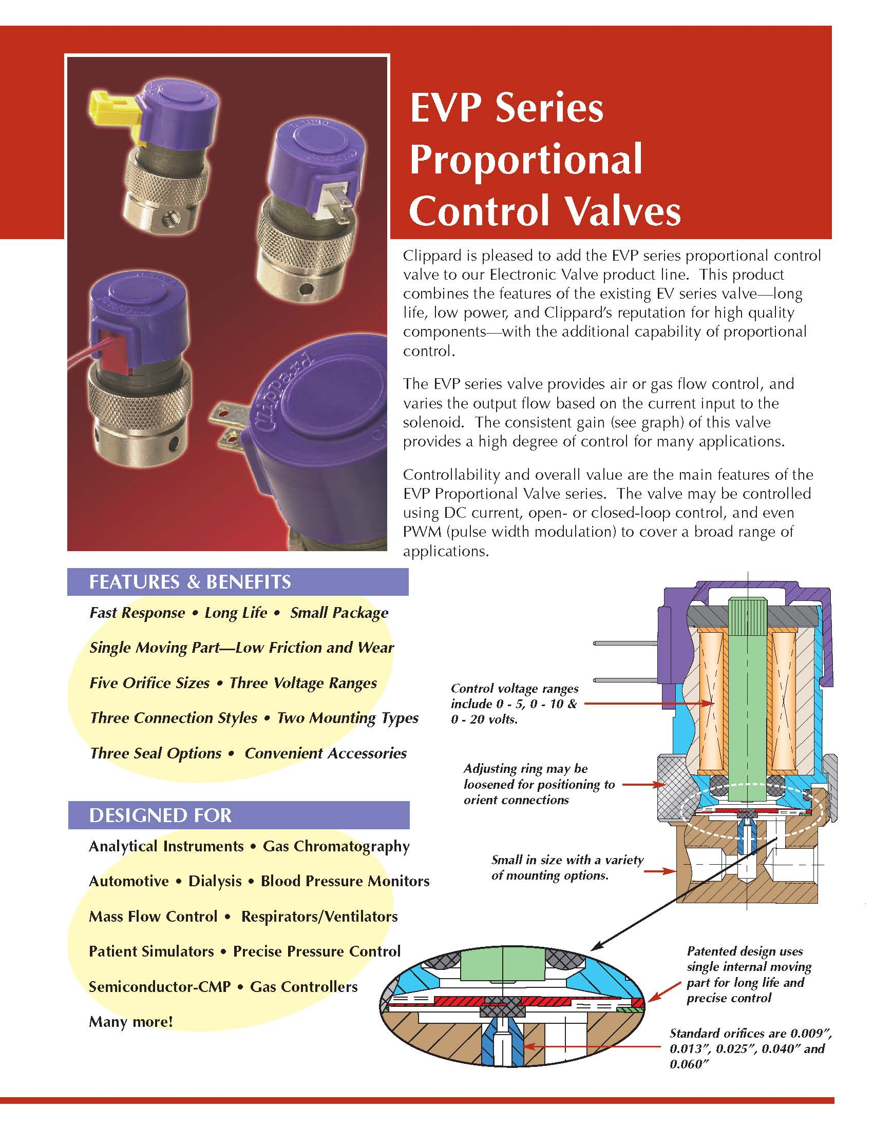 Clippard EVP Series Proportional Valves Data Sheet